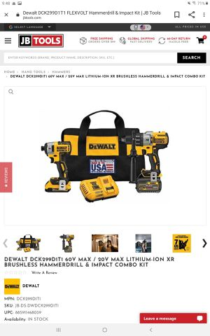 Dewalt flexvolt DCK299D1T1 impact driver and hammer drill combo kit for Sale in Walpole, MA