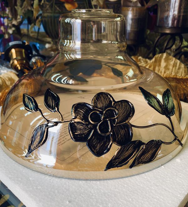 Pendant Light Nib Glass Floral Vine Metal Embellished For