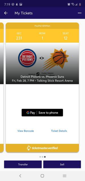 Suns vs Pistons for Sale in Glendale, AZ