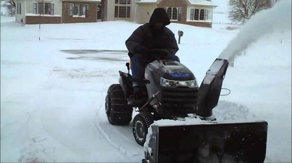 Tractor with snow blower