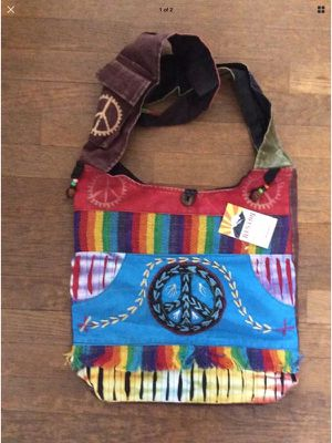 Nepal Patchwork Peace Sign HOBO PURSE tote bag sack handbag hippie Wide Strap for Sale in Portland, OR