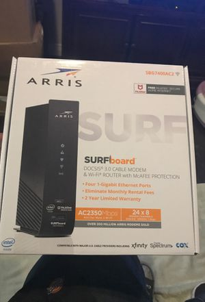 Arris surfboard Docsis 3.0 Cable Modem & wi-fi router with mcaFee Protection SBG7400AC2 for Sale in Culver City, CA
