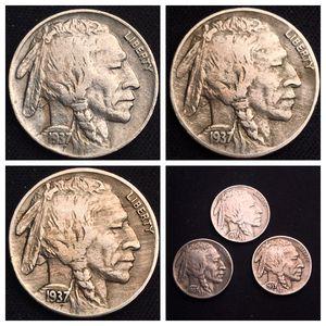 Full Horn 1937, 1937 D, 1937 S Buffalo Nickels - Nice! for Sale in Geneva, IL