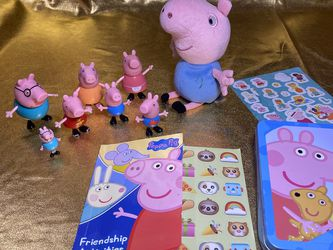 Peppa Pig Toys Stickers Plushies And Tin Box Bundle Lot for Sale in San Antonio,  TX