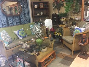 Patio Furniture Sofa, Chair and Glass Top Table for Sale in Zephyrhills, FL