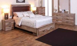 Queen bed frame. Dresser. Mirror and one night stand. VWDV0 for Sale in Pomona, CA