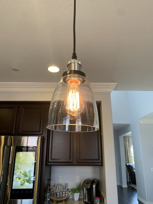 Kitchen island light fixture. Lightning dome lamps pair. for Sale in Fontana, CA