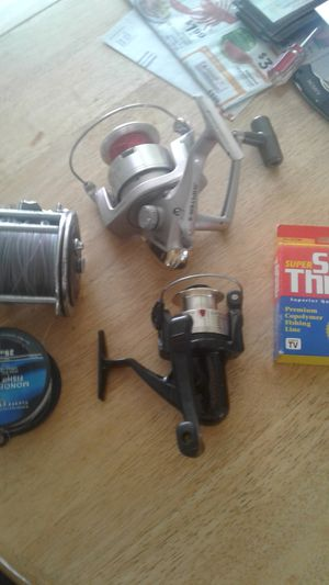 3 fishing reels and 2 spools of string for Sale in West Deptford, NJ