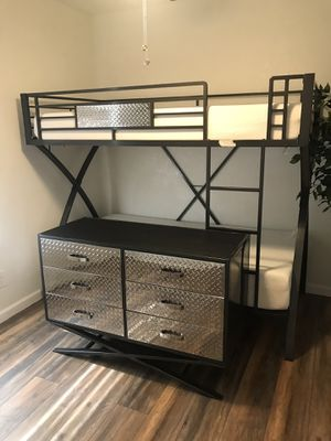 Twin over twin bunk bed with matching dresser and memory foam mattresses for Sale in Glendale, AZ