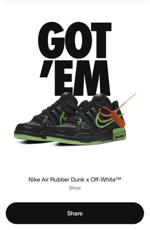 Nike air rubber dunk x Off White for Sale in Walkersville, MD