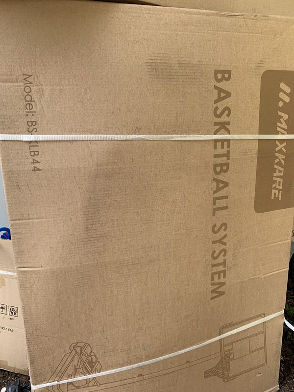 Nib MaxKare Basketball Hoop Goal Portable Poolside Basketball System Set Stand Adjustable Height 47''-79'' Outdoor Indoor for Kid Adult Pool W Alumin