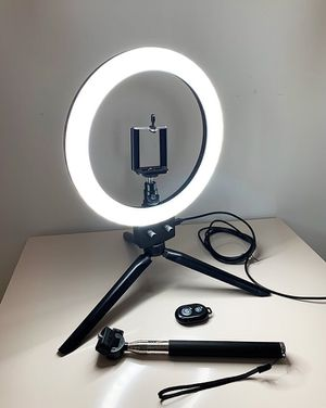 "(NEW) $30 each LED 8"" Ring Light Dimmable Table Stand USB Connection w/ Selfie Stick, Camera Remote for Sale in El Monte, CA"