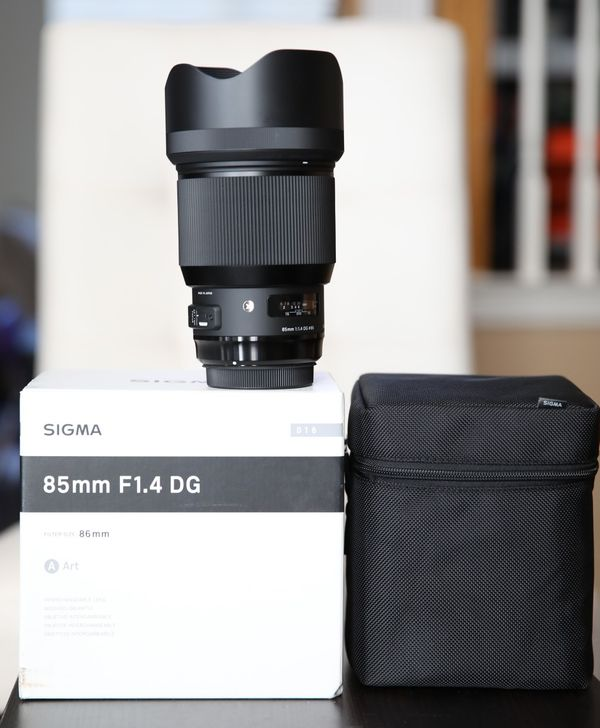 Sigma 85mm f/1.4 DG HSM Art Lens for Canon EF with Pro Optic 86mm UV filter Used on a few shoots. Perfect condition