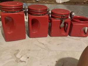 Red kitchen canisters for Sale in Wildomar, CA