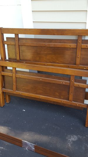 Solid wood twin bed frame and rails for Sale in Leesville, LA