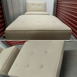 Reupholstered Vintage MCM Armless Slipper Chair and Ottoman, Footstool for Sale in Seattle, WA