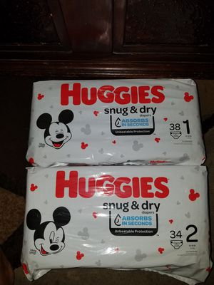 Huggies diapers size 1&2 both for $10 for Sale in Riverside, CA