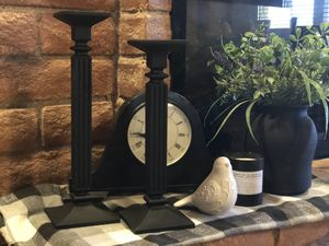 2 black glass candle holders for Sale in Cave Creek, AZ