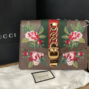 Gucci Brown Leather Embroidered Sylvie Belt Bag for Sale in Glendora, CA