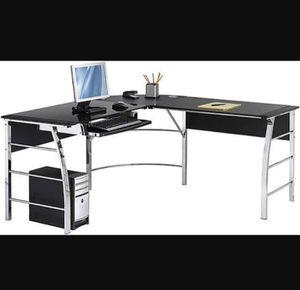 Modern black glass and silver L shape desk for Sale in Pembroke Pines, FL