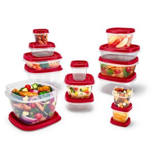 Rubbermaid Easy Find Vented Lids Food Storage Containers, 28-Piece Set Bonus, Racer Red for Sale in Houston, TX