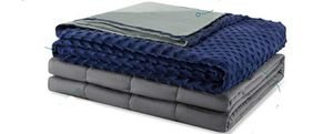 Weighted Idea - Soft Weighted Blanket with Cover 12 lbs for Children or Adults 48''x72'' Grey/Navy Blue Dot (Weighted Blanket + A Duvet Cover) for Sale in Stevenson Ranch, CA