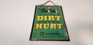 New John Deere tractor wall hanging sign embossed metal hung by tweed rope great christmas birthday holiday presen for Sale in Ontario, CA
