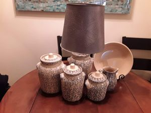 "Antique Robinson ransbottom canister set, water pitcher 9"" pasta/pie dish with matching lamp( works perfectly) and tin hole punched shade for Sale in Marquette, MI"