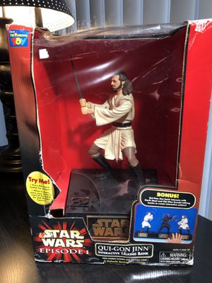 Star Wars 1999 Qui-Gon Jinn Episode I Interactive Talking Bank New in Box DARTH Vader Disney Thinking Toys yoda for Sale in Tampa, FL