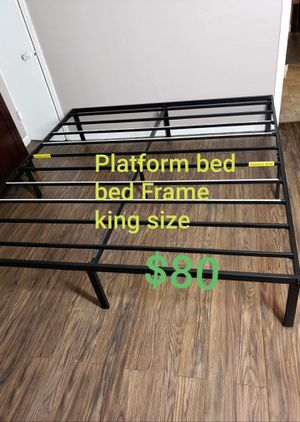 """Platform bed frame king size. 14"""" Tall. New. Free delivery. for Sale in Modesto, CA"""