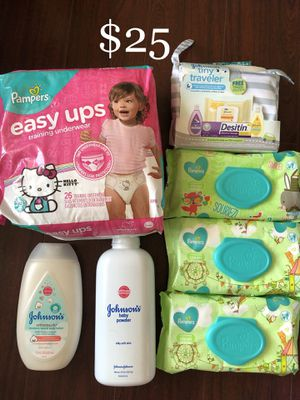 1 Pampers Diapers (2T-3T), 6 Johnson's Baby: 3 Wet Wipes, 1 Tiny Traveler Essentials Bag (see pictures), 1 Baby Powder (large, 22 oz), 1 Cotton Touch for Sale in Monterey Park, CA