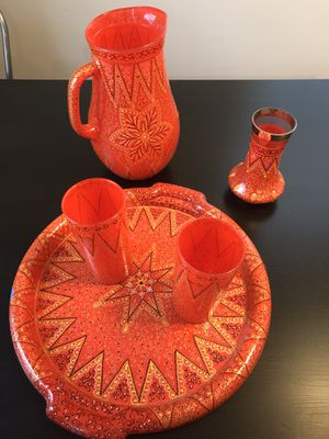 A tray, two glasses, pitcher, and small vase. for Sale in Wheaton, MD