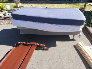 Three single bed mattresses. One box spring and frame for Sale in US