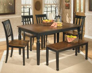 Owingsville 6 piece rectangular dining room table four side chairs and bench for Sale in Orlando, FL
