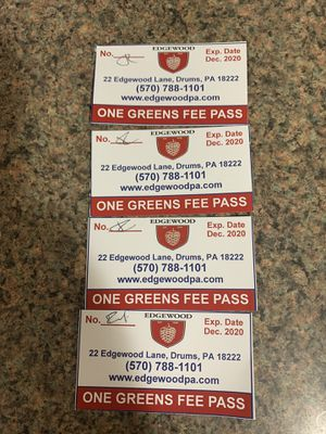 4 Golf greens fee passes Edgewood make reasonable offer for Sale in Ashley, PA