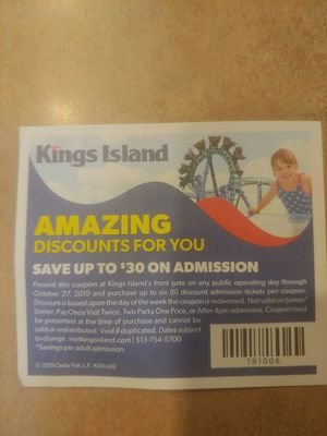 Kings island coupon for Sale in Lexington, KY