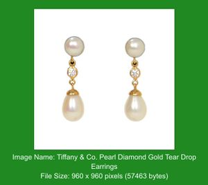 TIFFANY&Co Pearl Diamond Gold tear drop earrings for Sale in Boca Raton, FL