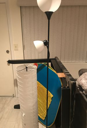 FREE! 4 black dining room chairs, 2 IKEA lamps, and a marble table one leg is broken but the top of the table is beautiful. Buyer Picks Up for Sale in Riverside, CA