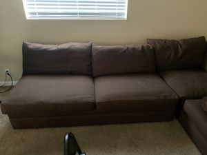 Sectional couch brown cloth material for Sale in Nashville, TN