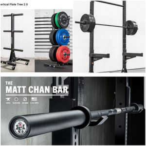 Rogue Fitness Set SML-2 Stand Rack, Matt Chan Barbell Olympic Bar, Rolling Weight Tree - HUGE VALUE for Sale in Mansfield, TX