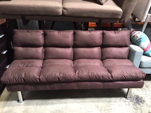 Futon Sofa with Chrome Legs, Dark Brown for Sale in Bell Gardens, CA