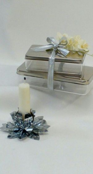 "3pc. Set Decorative Set with Metal Candleholder & Lidded Metal Acrylic boxes , 4""x3"", 4""x2"", 5""x2.5"" *PICKUP ONLY* home decor for Sale in Mesa, AZ"
