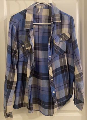 Women's Girls Kids Multicolored Blue Flannel Casual Button-Down Long Sleeve By Kirra Design for Sale in Chapel Hill, NC