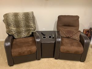 Set of two reclining chairs and center console! for Sale in Parker, CO