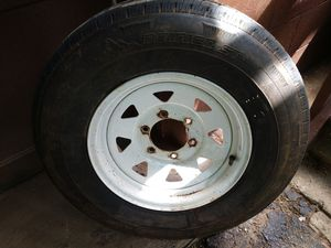 4 - 225/75R/15 Trailer Tires on white spoked rims for Sale in Saratoga Springs, NY