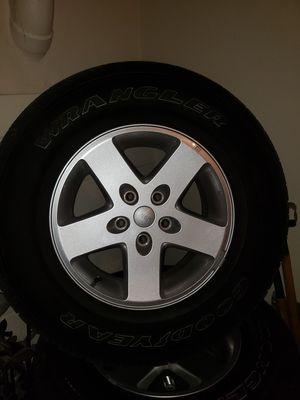 2015 jeep Wrangler JK wheels and tires. 17in rims Wrangler tires for Sale in Redlands, CA