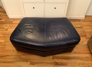 Large Navy blue leather ottoman for Sale in Brooklyn, NY