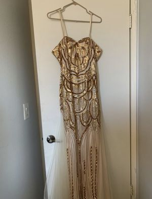 Long gold dress for Goddess Halloween costume, prom , party ,etc. for Sale in Phoenix, AZ