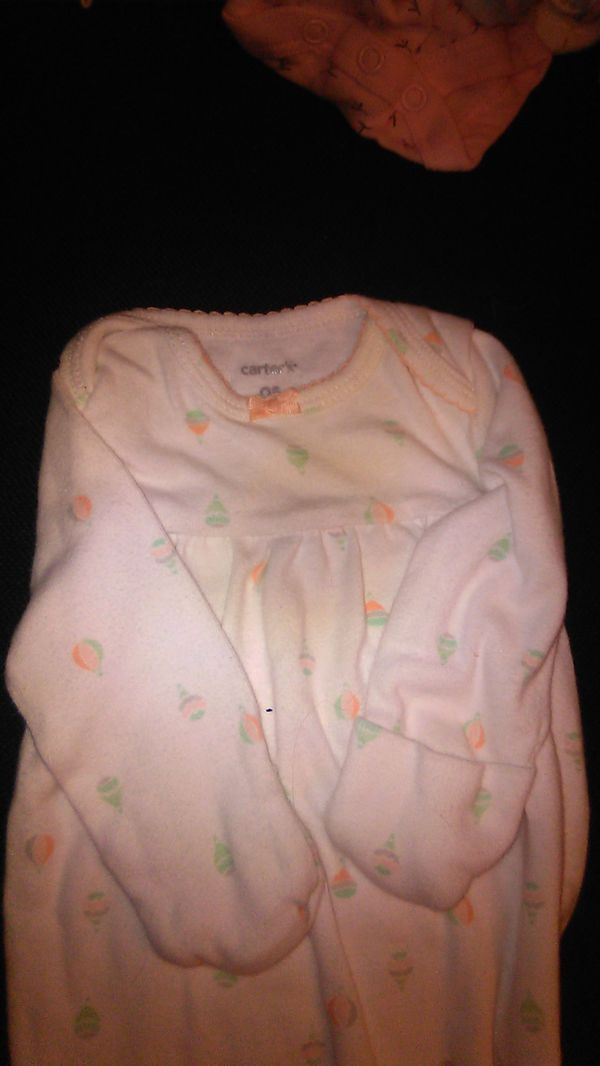 Carter's 2 sleeper sacks elastic bottom open preemie &0to6 mo new without tags