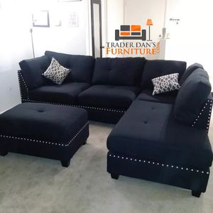 Brand New Black Linen Sectional Sofa Couch + Ottoman (Grey Available) for Sale in Silver Spring, MD